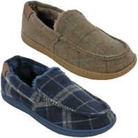 MENS WINTER MOCCASIN SLIPPERS TWEED FUR CHECK CUSHION WALK FLAT SHOES UK 7-11