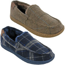 MENS WINTER MOCCASIN LINED SLIPPERS TWEED FUR CHECK CUSHION WALK UK 7-11