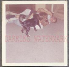 Vintage 1963 Snapshot Photo Cute Boys Wrestling w/ Dad & Pet Dog on Floor 694984