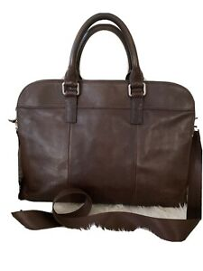 Gorgeous Unisex Brown Aged Leather Fossil Briefcase Style  Handbag