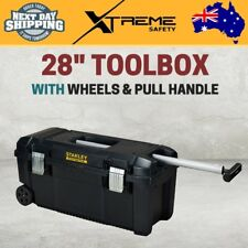 "Stanley 28"" Toolbox with Wheels and Pull Handle Portable Mobile Tool Chest"