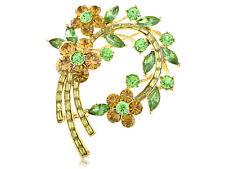 Topaz Green Crystal Rhinestone Fresh Spring Floral Flower Leaf Wreath Pin Brooch