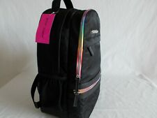 NWT Betsey Johnson RAINBOW BACKPACK Travel Gym School Bag BLACK MULTI   BB19290