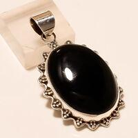 Mid Nighr Black Onyx Natural Gemstone 925 Sterling Silver Vintage Men's Pendant