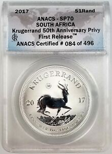 2017 1 Oz. South Africa Silver Krugerrand ANACS SP70 First Release W/Pouch & COA