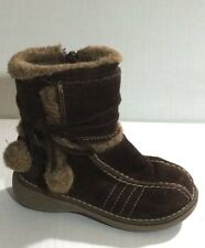 Circo Snow Winter Brown Suede Leather ZIp Faux Fir Boot Size 8 Girl Toddler/Baby