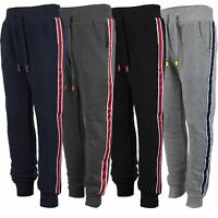 Kids Tracksuit Bottoms Plain Girls Trousers Boys Contrast Stripes Joggers 3-14 Y