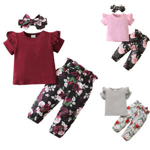 Toddler Baby Girls Clothes T-shirt + Floral Pant Trousers Kids Casual Outfits