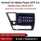 9  Android 10.1 Car Stereo Media Player GPS Head Unit For Honda Civic 2014-2017