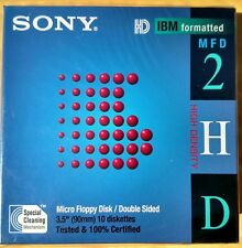 "SONY Micro 3.5"" Floppy Disc Double Sided IBM Formatted MFD-2HD 10 Pack NEW e8"