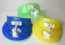 3X VINTAGE 80'S BEACH SUMMER PLASTIC HATS WITH COLLING FAN BATTERY OP NEW NOS !