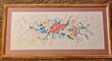 Needlework sampler crewel embroidery candlewicking pink blu floral bouquet 16x32