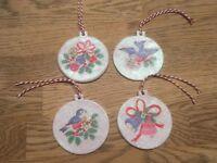 4 Handmade Clay Cath Kidston Christmas Design Decoupage Decoration/gift Tags