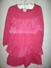 Girls Toddler hot pink ruffled long sleeve cotton/poly dress size 3T