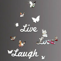 Live Laugh Love Quote Removable Wall Stickers Butterfly Mirror Decal DIY Decor