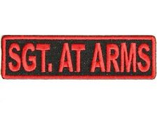 "Red SGT AT ARMS on BLACK 3.5"" x 1"" iron on patch (3188) Biker vest club"