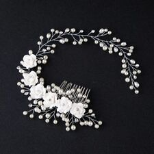Wedding Jewelry Hair Comb Crystal Bride Pearl Flower Hairband Tiaras