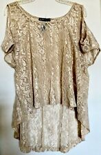 GRASS Beige Lace Tunic with Cold Shoulder Sleeves Size Medium