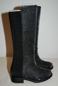 NWB Stuart Weitzman Toddler Girls Black Shimmer Metallic Tall Boots sz 5 6