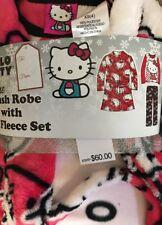 NWT Sanrio Licensed 3-Piece Plush Robe & Fleece Pajama Set, Hello Kitty 4(XS)