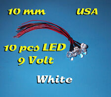 10 pcs LED - 10mm WHITE - PRE WIRED LEDS ~ 9 VOLT ~ 9V PREWIRED USA
