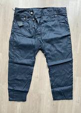 R13 Wet Look Asymmetric Capri Jeans Cropped Pants Trousers Black 28