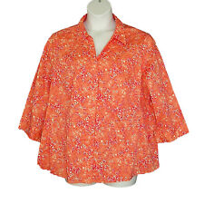 Plus Size Pink Orange White Spring Cotton Blend Top Blouse Basic Editions 3X