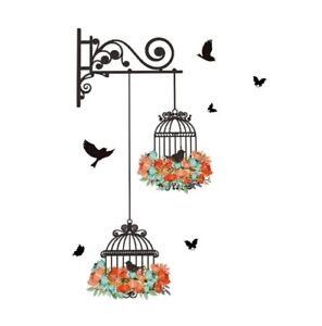Colorful Flower Birdcage Flying Birds wall Sticker Home Decor Decals Bedroom