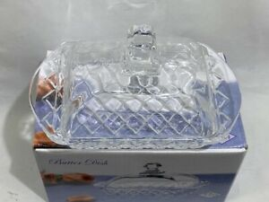 500 ml High Quality Transparent Crystals Glass Butter Dish with Lid Handle