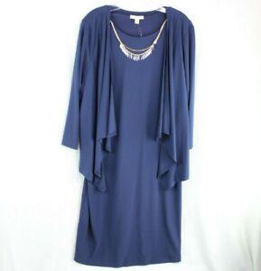 Dress Barn Women's Size 18W Blue Jacket with Blue Dress Necklace 3 Piece Set