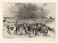 """Auguste Andre Lancon """"Patineurs sur les etangs de la glaciere"""" original etching"""