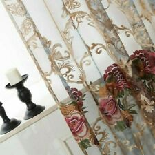 European Embroidery Curtain Pelmets Lace Voile Window Panel Drape Floral Sheer