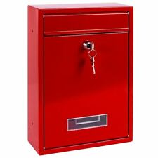 Steel Square Post Box Red Large Mail Letter Lockable Keys New By Home Discount