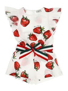 Monnalisa  ♥ Tuta Overall  ♥ Shorty ♥  Erdbeeren NEU ♥ Gr. 128 SALE