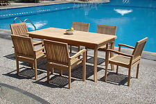 "Leveb A-Grade Teak 7pc Dining 71"" Rectangle Table 6 Stacking Arm Chair Patio Set"