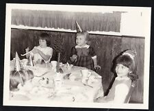 Vintage Antique Photograph Adorable Little Girls At Birthday Party Wearing Hats