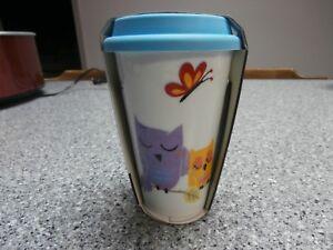 Double Walled Porcelain Ceramic Travel Mug with Lid - Blue