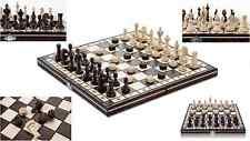 OLYMPIC DRAUGHTS - 35cm / 14in Handcrafted Wooden Chess Set with Checkers