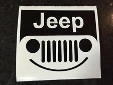 "5"" Jeep Smiley Face Vinyl Decal Sticker Wrangler Sahara Rubicon Sport TJ COLORS!"