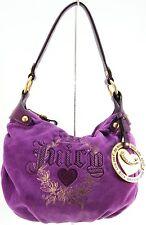 JUICY COUTURE NICE GIRLS SHOULDER BAG PURPLE VELOUR HEART PURSE HANDBAG BAG