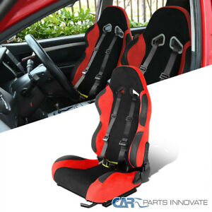 Left Side Red Suede Stitch PVC Leather Racing Seat+Black 4PT Seat Belt Harness