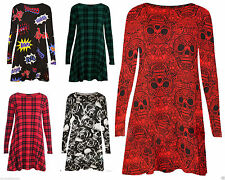 Unbranded Checked Long Sleeve Plus Size Dresses for Women