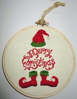 "5"" Cross Stitch  Ornament on Hoop -MERRY CHRISTMAS ELF-  2 Sided , By MMM"