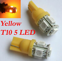 2 amber T10 5W wedge globe 5 SMD LED Car Light Bulbs perfect for side indicators
