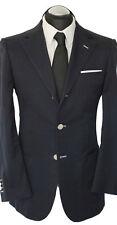 Regent Sakko Gr. 48 durchknöpfbare Man. handgenäht 100% BAUMWOLLE handmade Blau