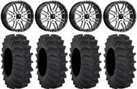 "MSA Machined Brute 18"" UTV Wheels 33"" XM310 Tires Kawasaki Mule Pro FXT"