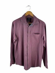 Charles Tyrwhitt Button Up Shirt Men Size M Red Grey Long Sleeve Collared Pocket