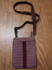 "Authentic Coach Burgundy Lather Trim&Suede Lether Accents Canvas ""Messenger Bag"""