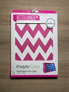 Apple iPad Air Pink/ White Zig Zag Protective Foldable Case w/ Box