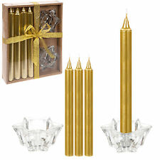 6 Piece Dinner Candle Boxed Gift Set - Christmas Table - Gold